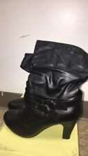 Charles Albert Women's Slouchy Mid-Calf Heeled Boots-Black/ SZ 10