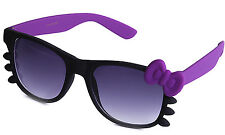 Rubber Matte Finish Gradient Lens Sunglasses with Colored Bow and Temples