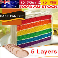 NEW 5-Layer Non Stick Rainbow Cake Pans Party Baking Tray Round Tin Pack Set OZ
