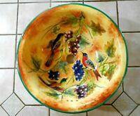 "Santa Rosa Mexico Ceramic Sink Handmade Signed 14 3/8"" Round 6 1/4"" Deep w1s1"