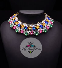 Fashion Pendant Chain Crystal Pearl Choker Chunky Statement Bib Necklace Jewelry