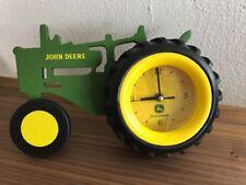 John Deere Wood Tractor Rubber Tire Wall Desk Mantle Clock