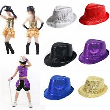 Adult & Kids Fedora Trilby Glitter Sequins Hat Costume Gangster Cap Dance Party