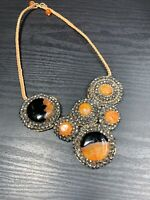 """Vintage Bohemian Exotic Hand Crocheted Stone Crystal Beaded Bib Necklace 16"""""""