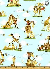 Susybee JUNGLE ALLOVER Giraffe Lion Monkey Quilt Fabric by 1/2 yard