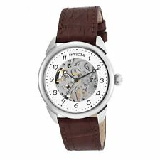Invicta 17187 Men's Skeleton Silver Dial Brown Leather Strap Watch