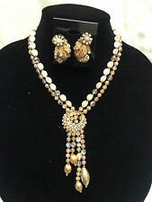 Vintage Signed Miriam Haskell Robert Demario Cream Beaded Necklace Set (Estate)