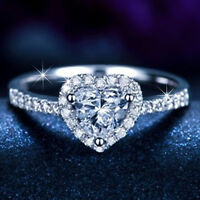 9K GOLD GF SOLITAIRE LOVE HEART LAB DIAMOND WOMENS ENGAGEMENT WEDDING RING GIFT