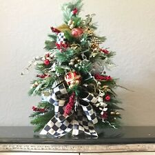 "Gorgeous 24"" Christmas Silk Topiary with MacKenzie Childs Ribbon.  48ct LED"