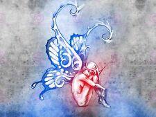 Peinture Dessin Tattoo Sketch Couleur Papillon Fée art print poster MP3855A