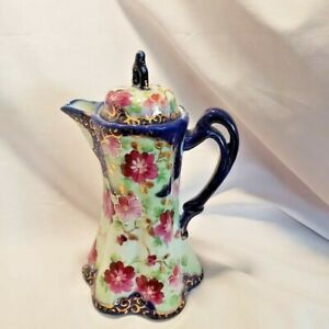 Vintage Hand Painted Nippon Cobalt & Mauve Chocolate Pot w/ lid and Gold Accents