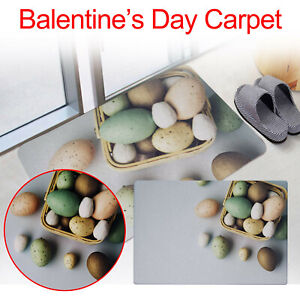 Happy Easter Eggs Bathroom Kitchen Water Absorption Flannel Non-slip Carpet Rugs