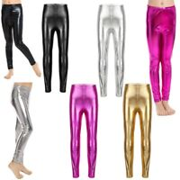 Kids Toddler Girls Metallic Shiny Stretch Full Length Leggings Dance Tight Pants