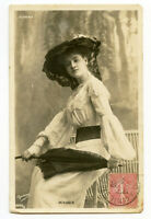 c 1905 French Glamour FASHION BEAUTY w/ Parasol Pretty lady photo postcard