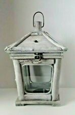 Rustic Weathered Wood Candle Lantern, Glass Panes