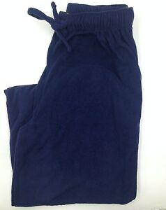 $50 Club Room Men'S Pajama Pants Blue Solid Fleece Lounge Sleepwear Size M