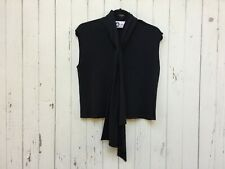 LANVIN paris black cropped sleeveless top asymmetric scarf tie neck blouse crop