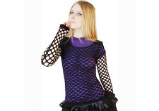 POIZEN INDUSTRIES BLACK NETT LADIES TOP GOTHIC LADIES MESH FISHNET NEW METAL