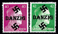 GERMANY 520, 529 DANZIG OVERPRINT OG NH U/M F/VF TO VF BEAUTIFUL GUM