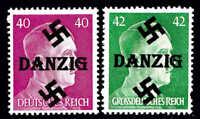 GERMANY 520, 529 DANZIG OVERPRINT OG NH U/M F/VF TO VF BEAUTIFUL GUM