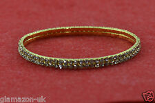 STUNNING ANKLET 2 ROW RHINESTONE DIAMANTE CRYSTAL GOLD TONE NEW UK FREE POST