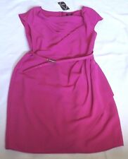 BNWT OASIS UK 14 EUR 40 MAGENTA FUCHSIA A LINE DRESS COWL NECK WITH BELT
