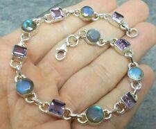 925 Silver Cut FIRE LABRADORITE AMETHYST Bracelet B078~Silverwave*uk Jewellery