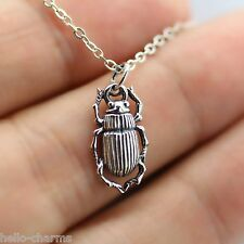 BEETLE NECKLACE - 925 Sterling Silver - Scarab Beetle Insect Charm Jewelry NEW