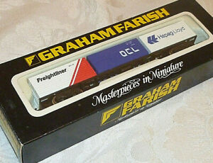 GRAHAM FARISH FREIGHTLINER BOGIE WAGON + 3 CONTAINERS BOXED SUPERB N GAUGE 3605