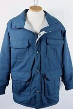 Vintage 80s Woolrich Jacket Mountain Parka Mens L Blue Hooded Lamb Tag Insulated
