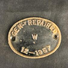 GENLY REPAIRED CAST RAILWAY TRAIN CARRIAGE CAST IRON OVAL 1957 WAGON PLATE