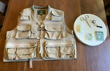 Men's ORVIS Tan FLY FISHING VEST w/ fishing ACCESSORIES, size SMALL (s)