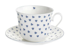Nina Campbell Large Bone China Breakfast Cup & Saucer  Blue Hearts 0.45L New