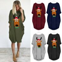 Women Christmas Plus Size Shirt Dress Deer Party Casual Long Pockets Dresses