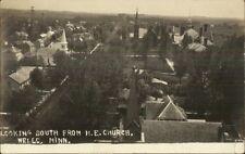 Wells MN Birdseye View c1910 Real Photo Postcard