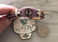 Bracelet adjustable Peace Sign Brown Purple leather 00006000  Unisex
