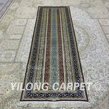 YILONG 2.5'x8' Striped Handmade Silk Hallway Rug Runner Gallery Carpet H348B