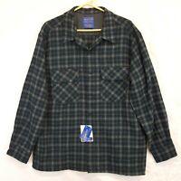 Pendleton Wool Plaid Board Shirt Loop Collar Sz L New NWT Blue Green Gray Ombre