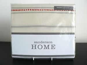 SANDERSON - PIPPIN (CHARCOAL CORAL) PAIR STANDARD PILLOWCASES - RRP £30 FREE P&P