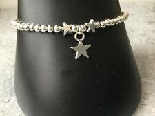 "Star Charm Star Bead Silver Plated Ball Bead Bracelet 7"""