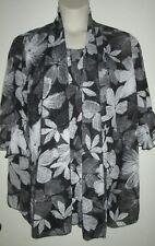 MAGGIE BARNES 2pc TOP SET 0X 14/16 TANK & SHEER JACKET Black White FLORAL Shirt