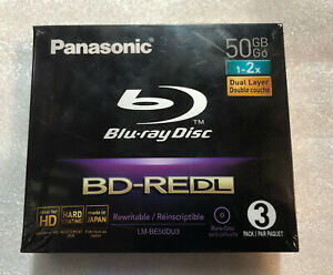 3X Panasonic BluRay BD-RE DL 50GB 2x Speed Blu-Ray Rewritable Discs Japan Made
