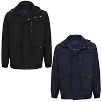 Mens Shower Proof Hooded Jacket Ribbed Collared Lined Winter Warm Zip Up Coat