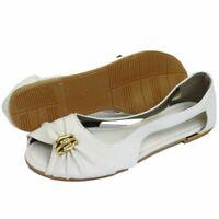 WOMENS FLAT WHITE SLIP-ON OPEN-TOE SANDALS SUMMER SHOES COMFY BALLET PUMPS 3-7