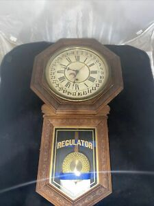 E.N. Welch Star Pointer Calendar School House Clock 1890's Serviced & Working