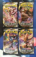 Pokemon Sword & Shield Rebel Clash - 4 Booster Packs - New and Sealed -TCG Cards
