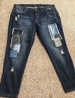 Women's ZCO JEANS SKINNY STRETCH DISTRESSED JEANS Size 16 Actual 38X29 Rise 10
