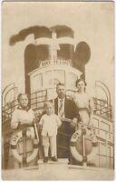 Studio Steamboat Family Portrait Vintage Nautical Ship Real Photo Postcard