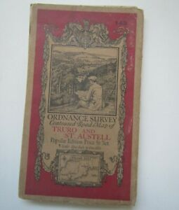 Old Ordnance Survey Road Map of Truro & St Austell 1930 - Sheet 143