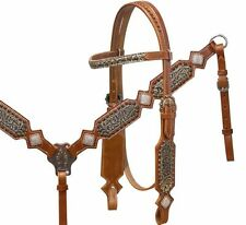 Western Saddle Horse Bling! Bridle Headstall + Breast Collar Leather Tack Set